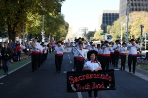 Senior Band marching down Capitol Ave. in Downtown Sacramento for the 2018 Veteran's Day Parade.